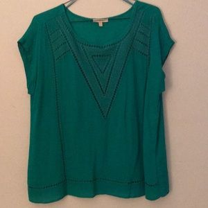 Skies Are Blue Emerald Green Blouse Size XL